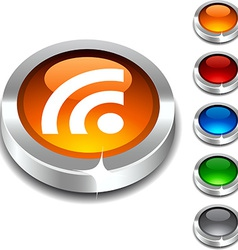 Rss 3d button vector image vector image