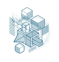 3d abstract isometric background layout of vector
