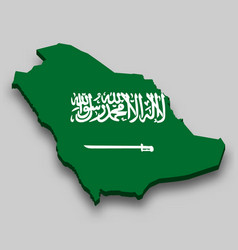 3d isometric map saudi arabia with national vector
