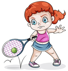 A Caucasian girl playing tennis vector image