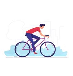 a young man cycling through vector image