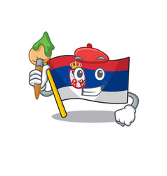 Artist flag serbia isolated with character vector