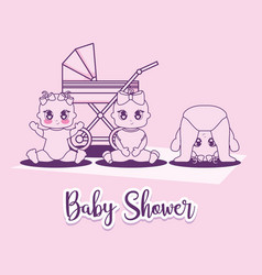 Baby shower card with little girls and cart vector
