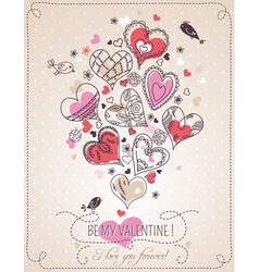 background with valentine heart vector image