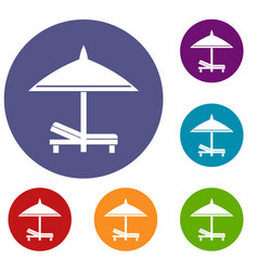 bench and umbrella icons set vector image
