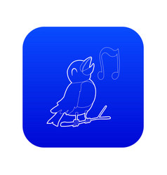 Bird singing icon blue vector