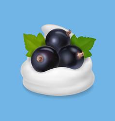 Black currant in yogurt or ice cream vector