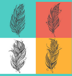 Black feather icons set of logo design vector