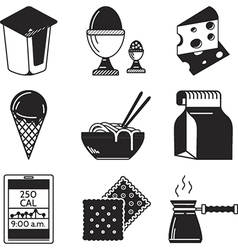 Black icons for lunch menu vector