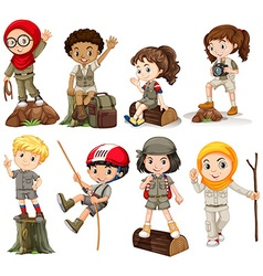 Boys and girls in camping outfit vector