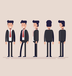 Businessman or manager from different sides front vector