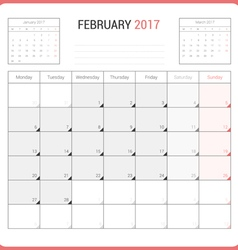 Calendar Planner for February 2017 vector