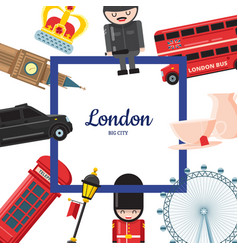Cartoon london sights vector