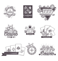 casino poker gambling game sketch icons vector image