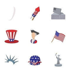 Celebration independence day usa icons set vector