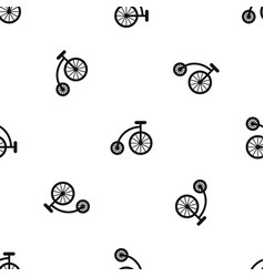 Children bicycle pattern seamless black vector