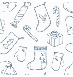 Christmas decoration outline seamless pattern vector image