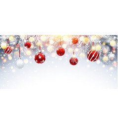 christmas decorations with red balls and fir vector image