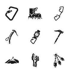 climbing icon set simple style vector image