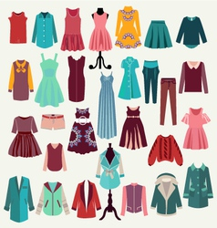 clothes collection woman wardrobe vector image