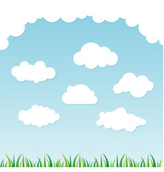 cloud collection with grass background vector image