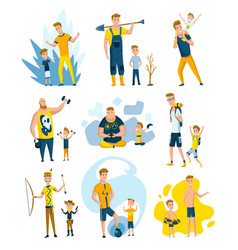 collection fathers who spend time with sons vector image
