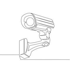 continuous line cctv camera line icon vector image