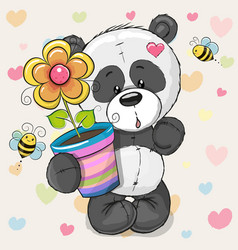 Cute cartoon panda with flower vector
