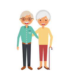Cute couple the old woman and man grandparents vector