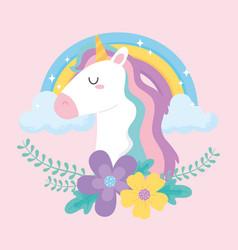 cute magical unicorn rainbow flowers clouds dream vector image