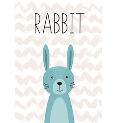 Cute rabbit poster card for kids vector