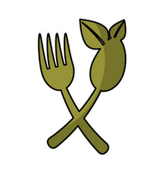 Cutlery with leafs healthy food vector