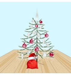 Decorated Christmas tree with toys New Year vector