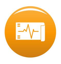 Electrocardiogram icon orange vector