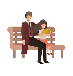 father and daughter sitting in park chair avatar vector image