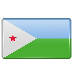 Flags Djibouti in the form of a magnet on vector