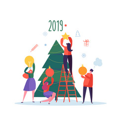 Flat happy people decorating christmas tree vector