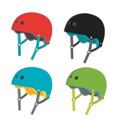 flat helmets icons isolated on white vector image