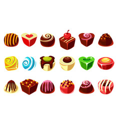 Flat set tasty candies with various vector