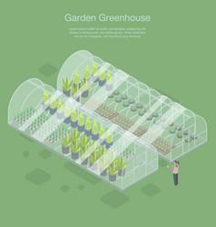 Garden greenhouse banner isometric style vector