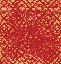Gold art pattern on a red grunge style vector