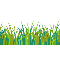 Green blue grass stalks tuft and seamless pattern vector