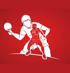 Group ping pong players table tennis players vector