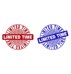 grunge limited time scratched round watermarks vector image