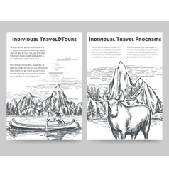 Hand drawn travel flyers vector image
