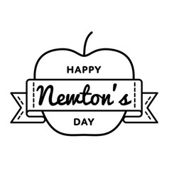 happy newtons day greeting emblem vector image