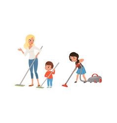 Happy parents and kids doing housework together vector