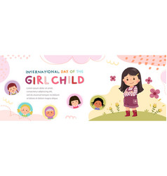 Horizontal banners with a little girl hugging vector