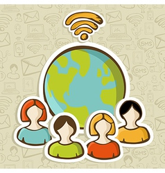 Internet diversity people global connection vector