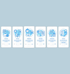 Jobs types blue onboarding mobile app page screen vector